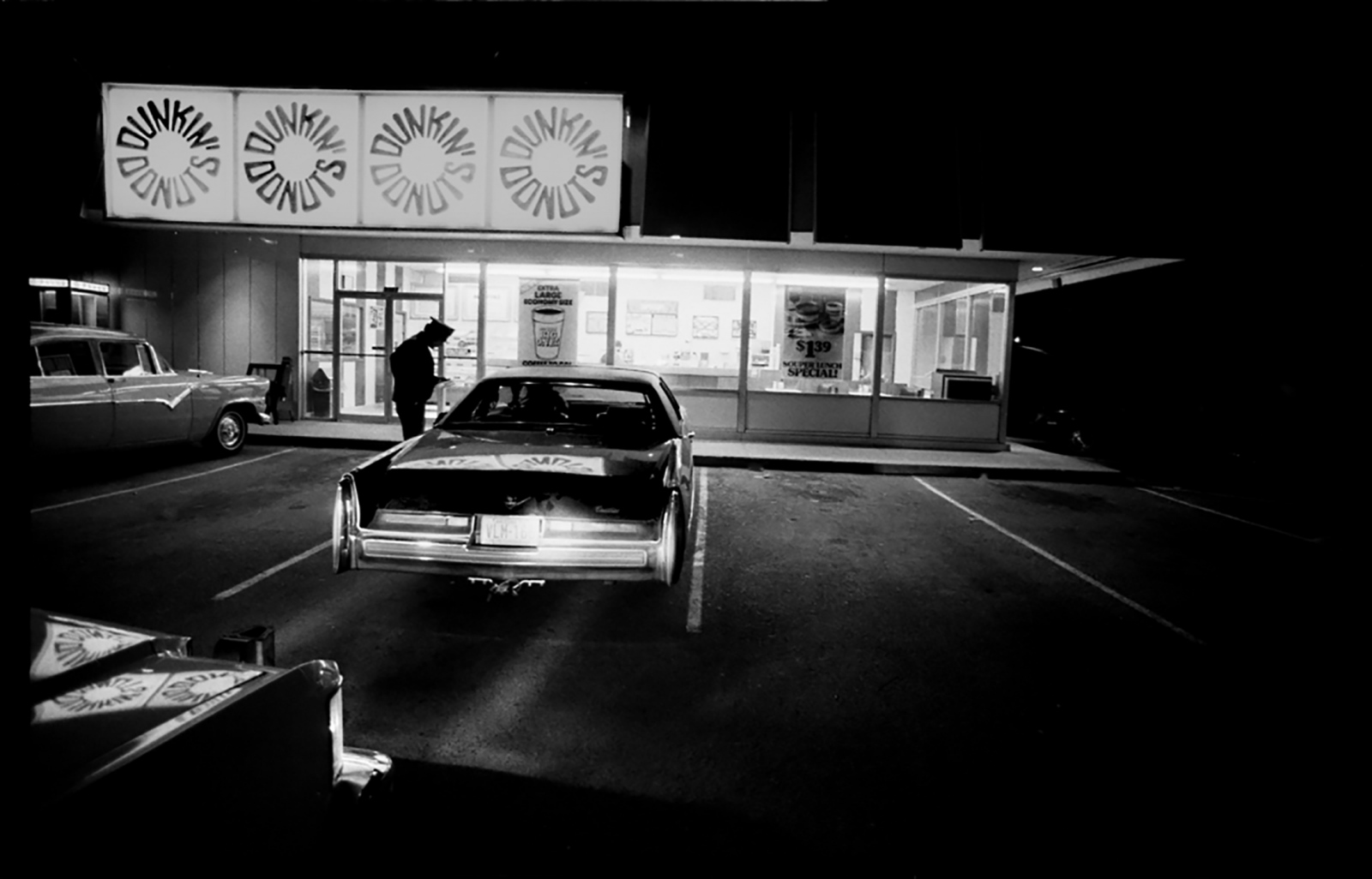 Cop at donut shop, DUI stop and arrest, Arizona, USA, 1980,