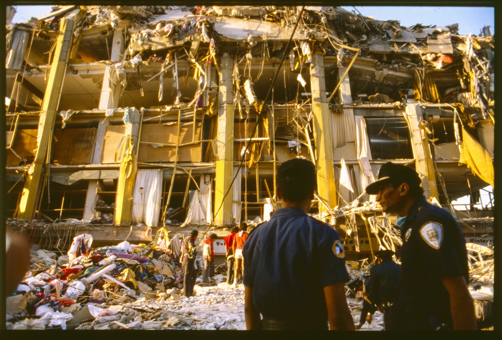 Destruction from earthquake,Mexico City, Mexico. 1986.