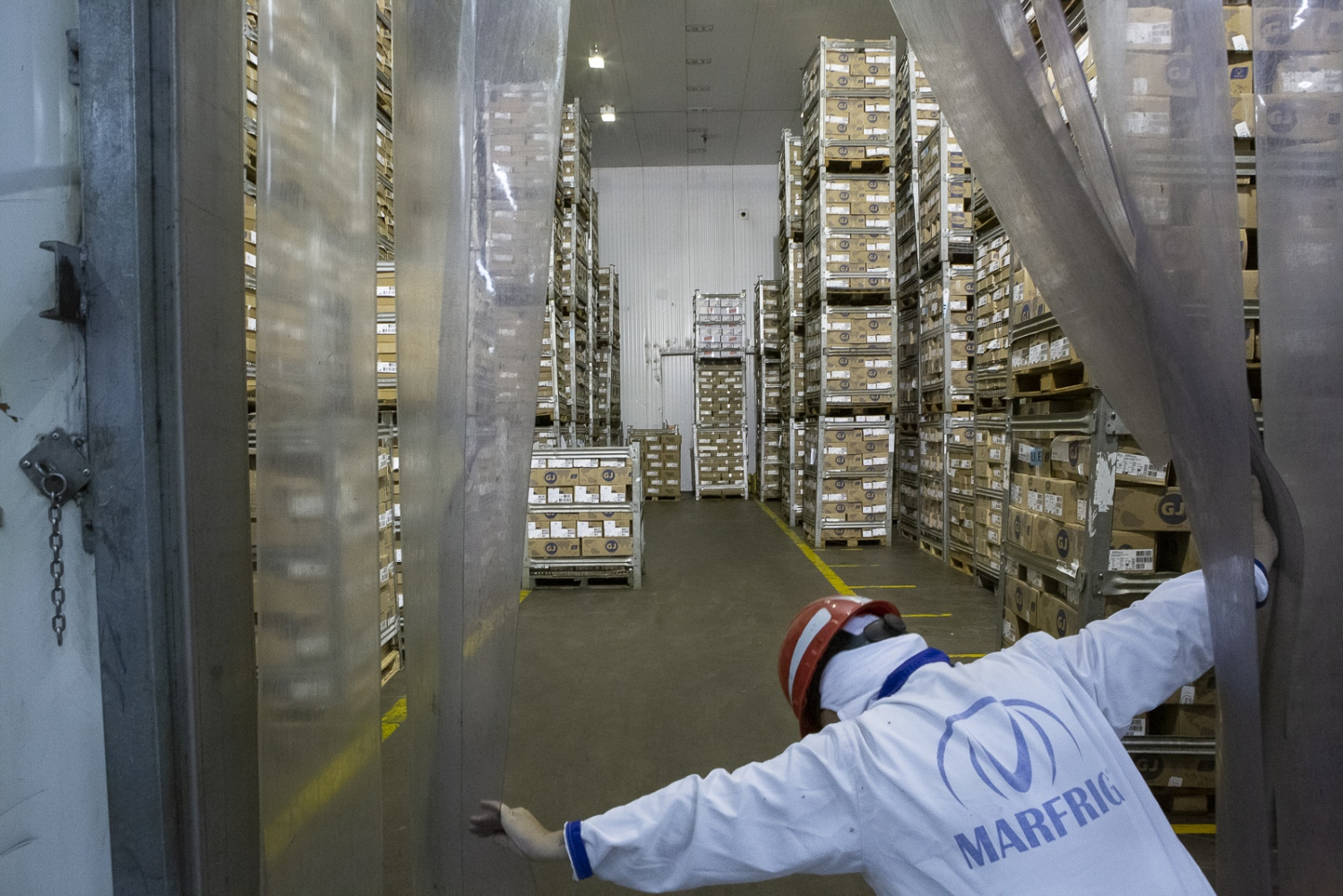 One of the ten room full of freezed meat boxes for exportation.  Marfrig in one of the biggest slaughterhouses of Brazil and the 3rd one of the world. Bataguaçu, Brazil, 2015