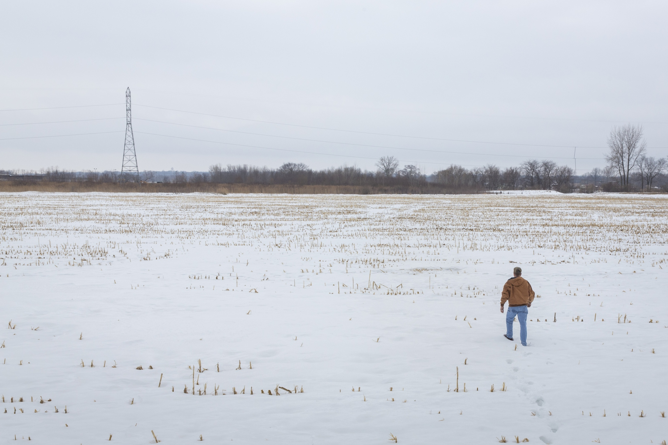 Randy DeBaillie walks over a field near his house where he hopes to install 15 acres of solar panels.