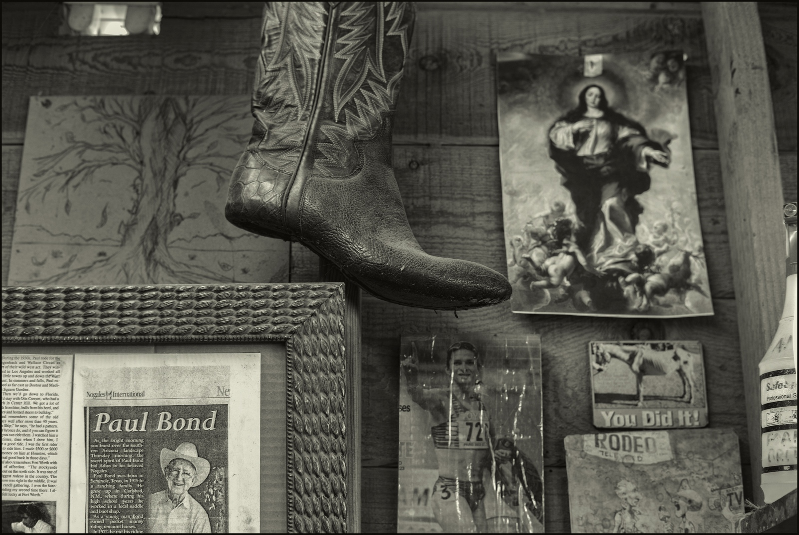 Detail, wall at workstation of Marcial Gonzales Parra . Paul Bond Boot Company, Nogales, Arizona. February 2019.
