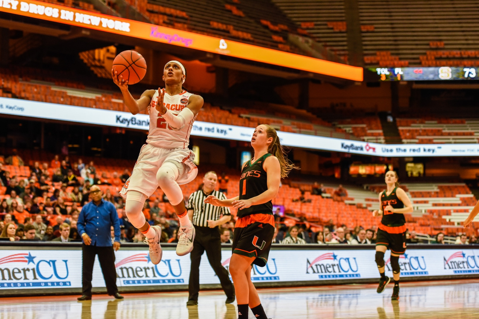 The Syracuse women's basketball team upended Miami in a much-needed win with a tenacious defensive effort and relentless speed in transition offense.