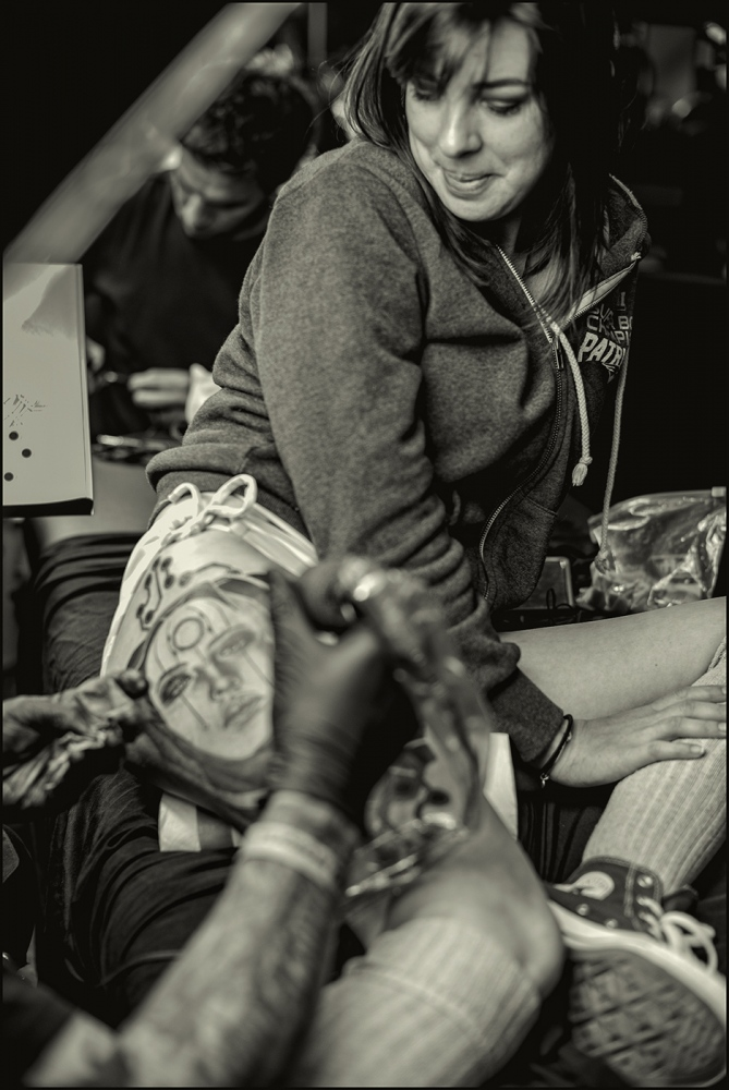 Her likeness being created on the hip. Tattoo Expo, Arizona. March 2019.