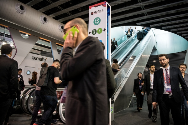Participants in the Mobile World Congress fair. Photo by Gemma Miralda. Barcelona, Spain. 25/02/2016