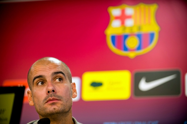 FC Barcelona's coach Pep Guardiola addresses the media during a press conference at the Sports Center FC Barcelona Joan Gamper in Sant Joan Despí, Spain. Photo by Gemma Miralda 08/13/11.