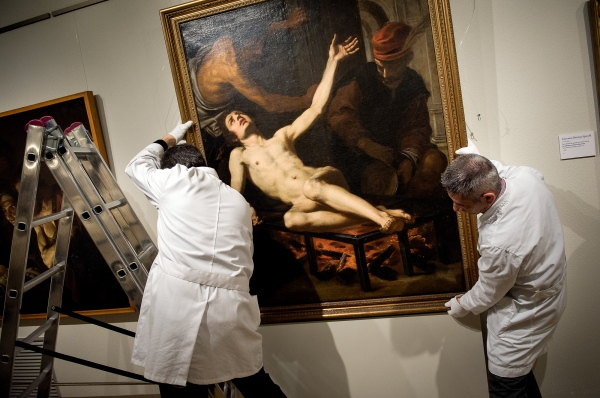 The Martyrdom of Sant Llorenç, s.XVII by Giacopo Vignali, is one of the works of the art collection of Montserrat Museum, and which occupy the space of the Caravaggio painting, temporarily assigned to Italy. Museum of Montserrat, Spain. 01/21/14 Photo Gemma Miralda.