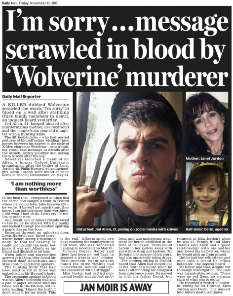 https://www.dailymail.co.uk/news/article-3315394/Wolverine-killer-murdered-little-sister-mother-boyfriend-scrawled-m-sorry-BLOOD-wall-family-home.html