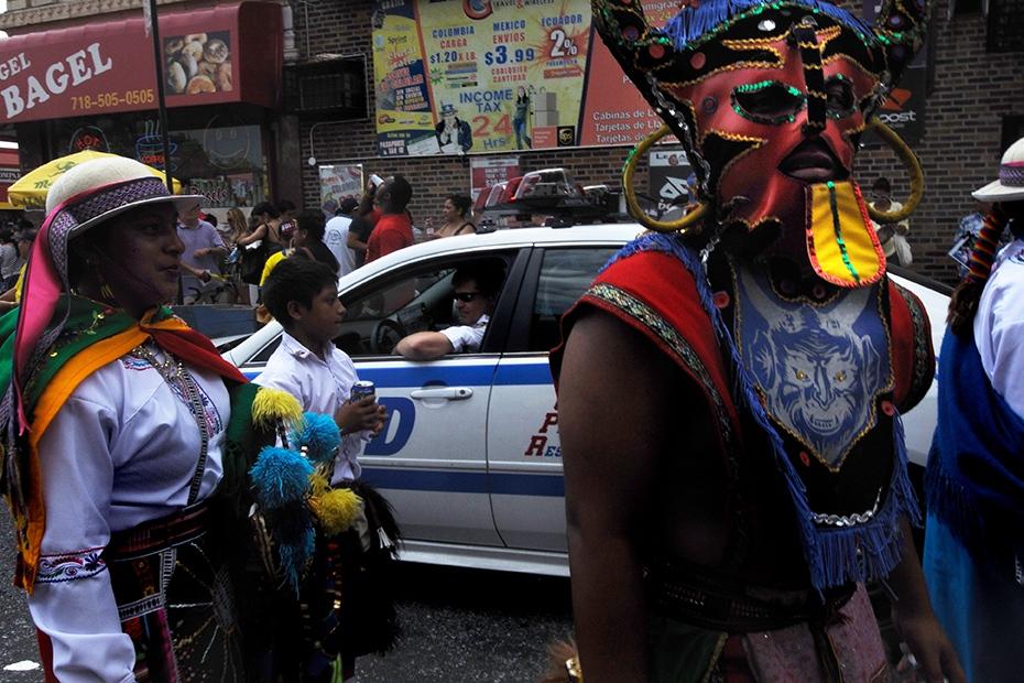 Jackson Heights, Hispanic Neighborhood, New York, US. Bolivian Indigenous celebration.