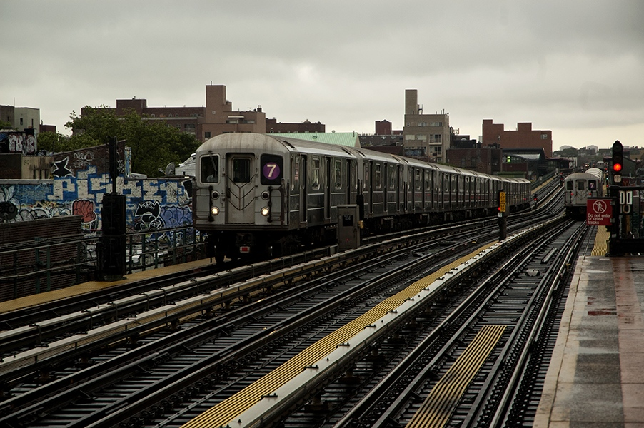 Jackson Heights 's stop  82 of MTA service train 7 in Queens.