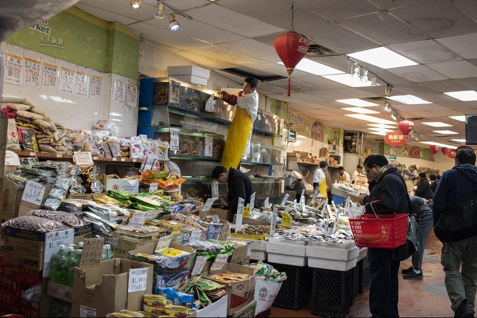 Market in Flushing asian neighborhood in Queens