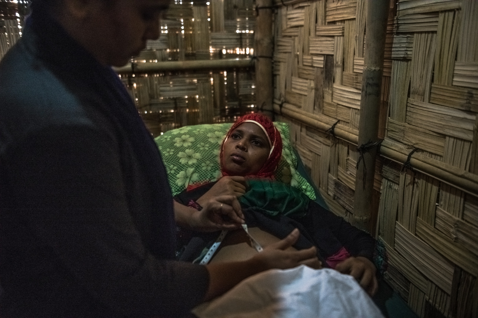 A 20-year-old woman who was about four months pregnant, and who is not a survivor of sexual violence, received a checkup at a maternity clinic in the Kutupalong refugee camp