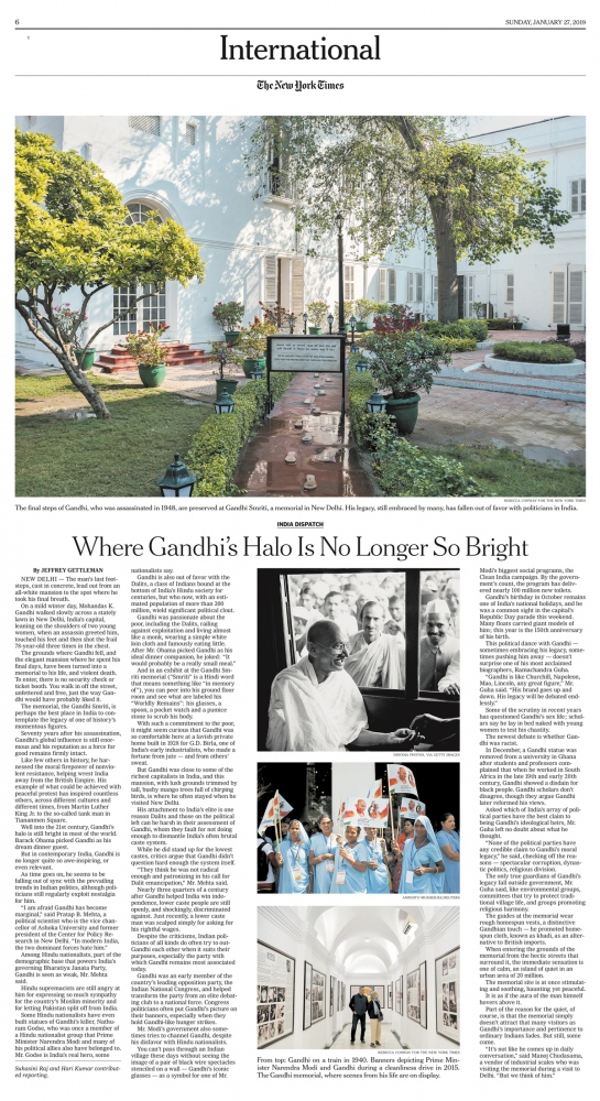 The New York Times In India, Gandhi's Halo Glows Less Brightly for Hindu Right and Lower Castes