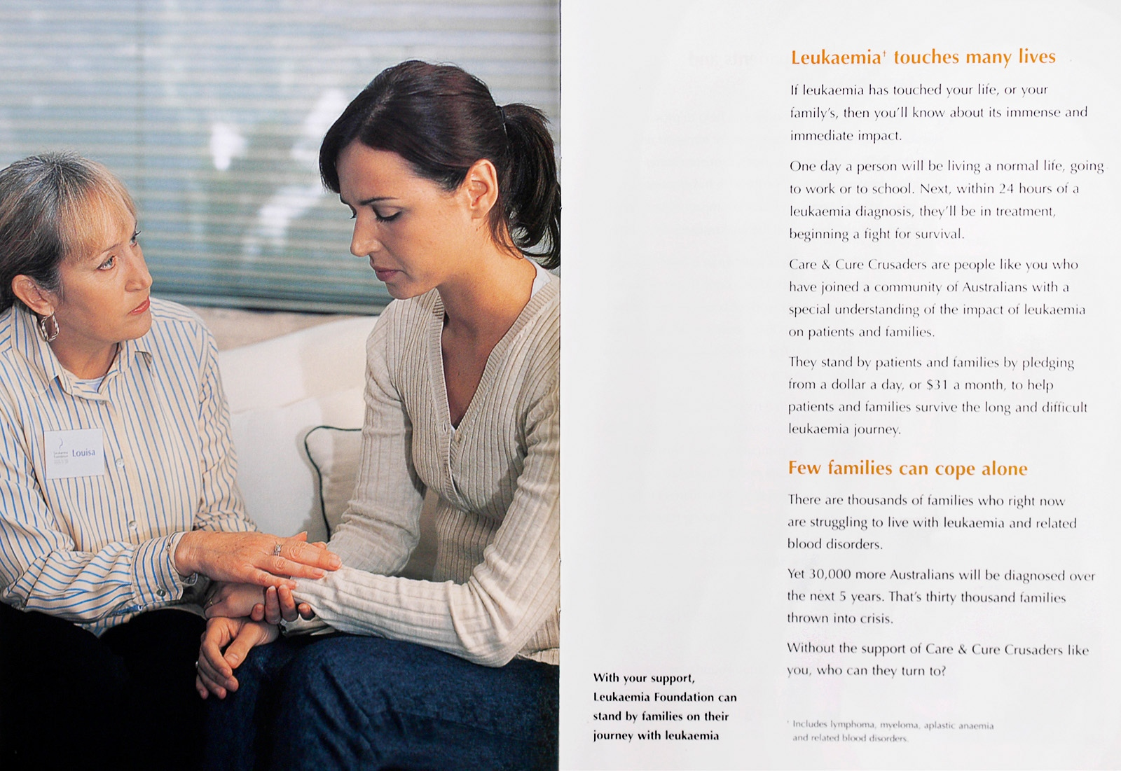 Leukaemia Foundation Australia, brochure promotion.