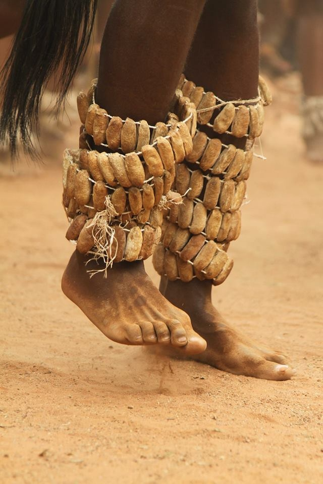 In Botswana they are called Matlhoa or Matlhao, traditional leg rattles worn by traditional dancers. The rattles are made from silk moth cocoons and filled with seeds, and are tied on the dancer's legs to make melodious fascination to local traditional music.