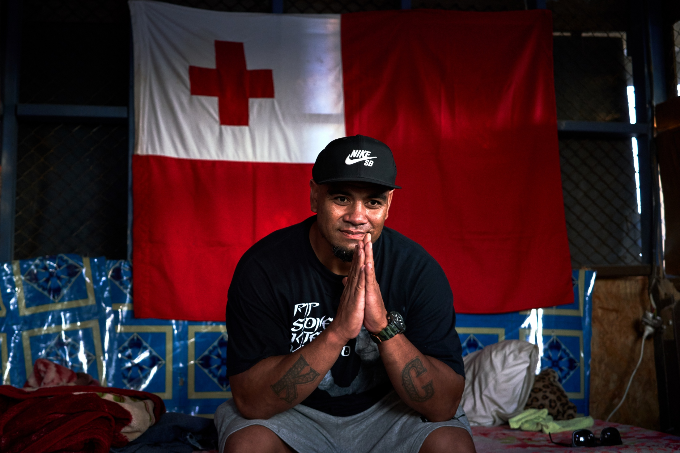 Talia'uli Prescott at his home in Ma'ufanga, Tonga
