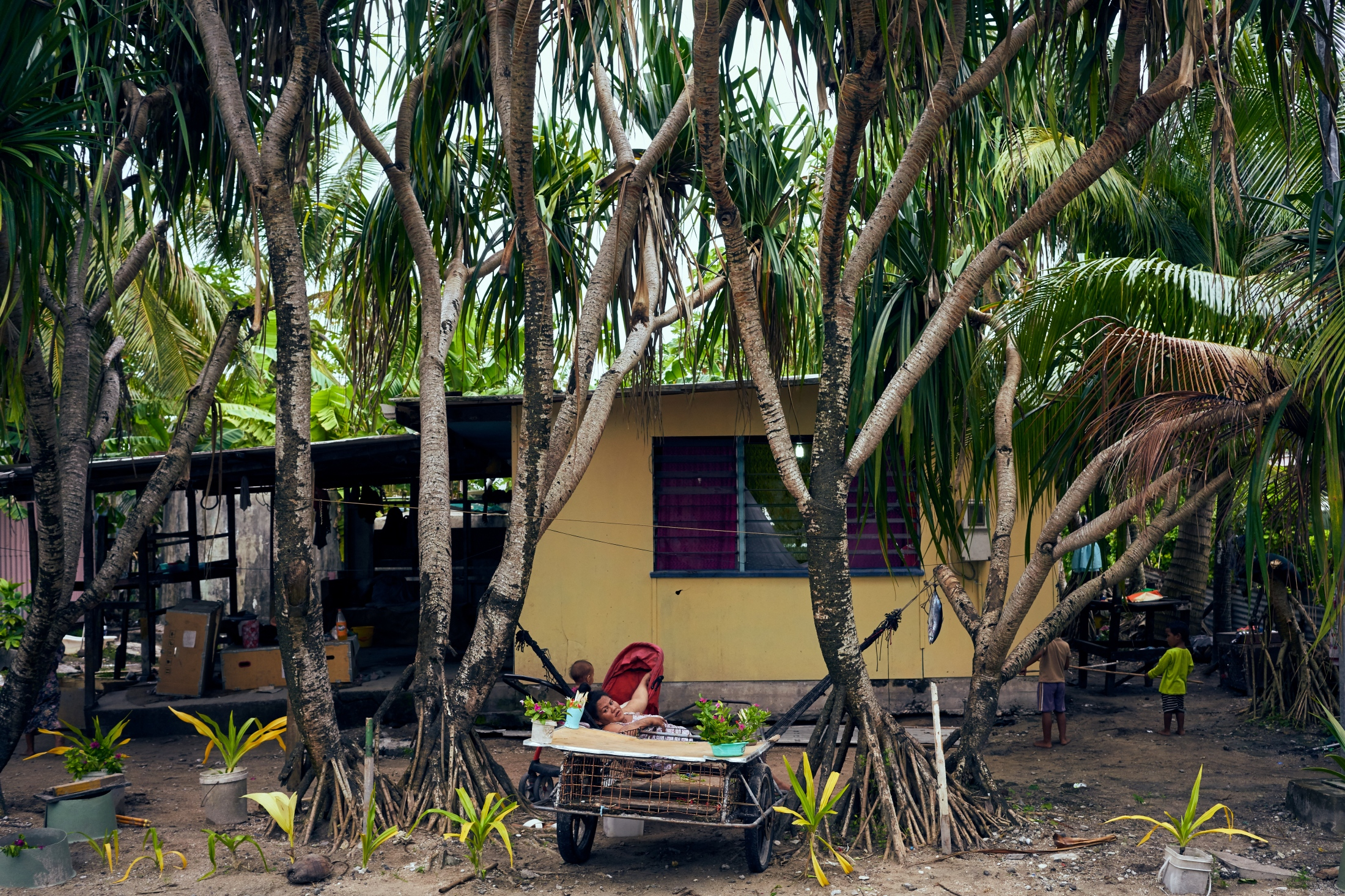 A house on Tuvalu Road in Funafuti.