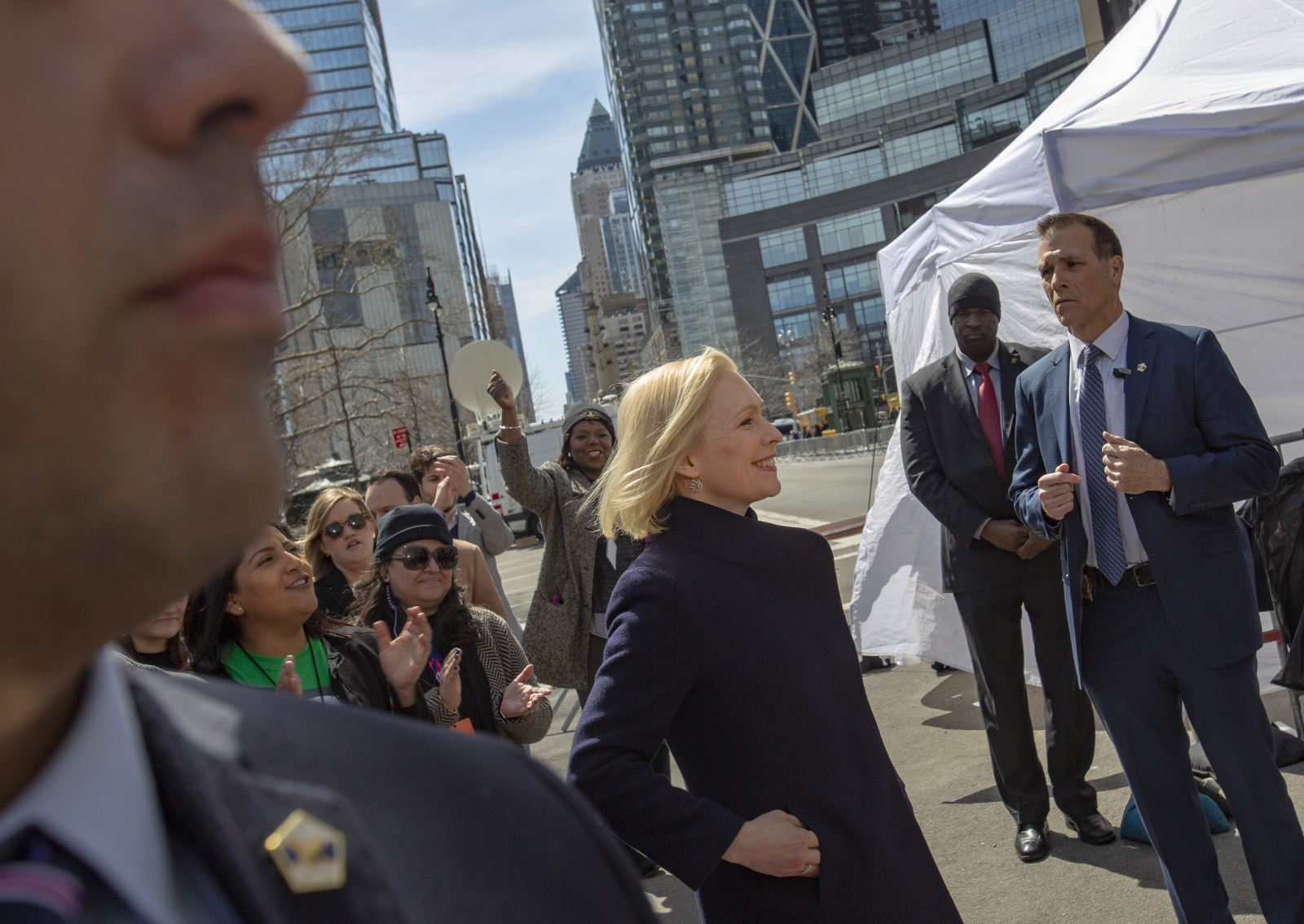United States Senator Kirsten Gillibrand kicks off her presidential campaign in Manhattan in front of Trump International Hotel, New York, March 24, 2019