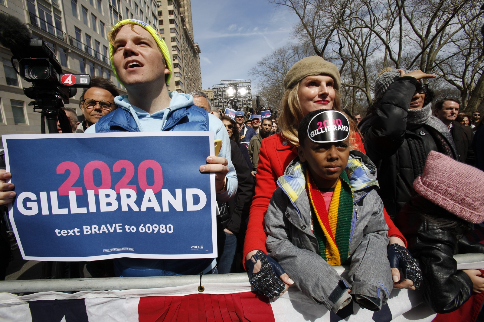 Supporters greet United States Senator Kirsten Gillibrandat as she kicks off  her presidential campaign in Manhattan in front of Trump International Hotel, New York, March 24, 2019