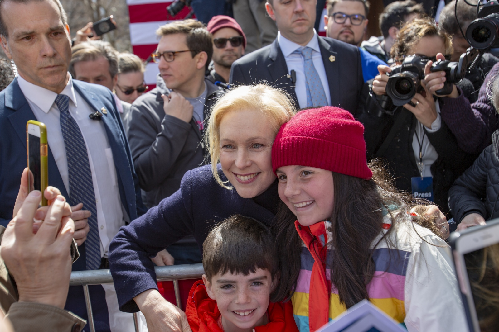 United States Senator Kirsten Gillibrand greets supporters as she kicks off event for her presidential campaign in Manhattan in front of Trump International Hotel, New York, March 24, 2019
