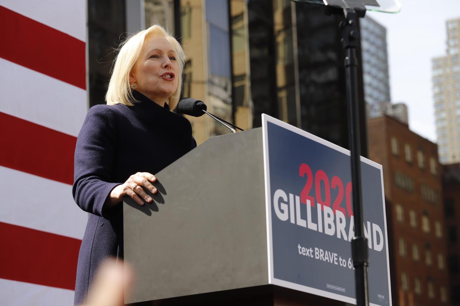 United States Senator Kirsten Gillibrand kicks off her presidential campaign in Manhattan in front of Trump International Hotel, New York, March 24, 2019
