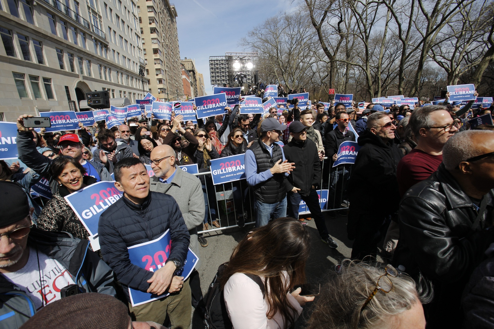 Supporters greet United States Senator Kirsten Gillibrandat as she kicks off her presidential campaign in Manhattan, New York, March 24, 2019