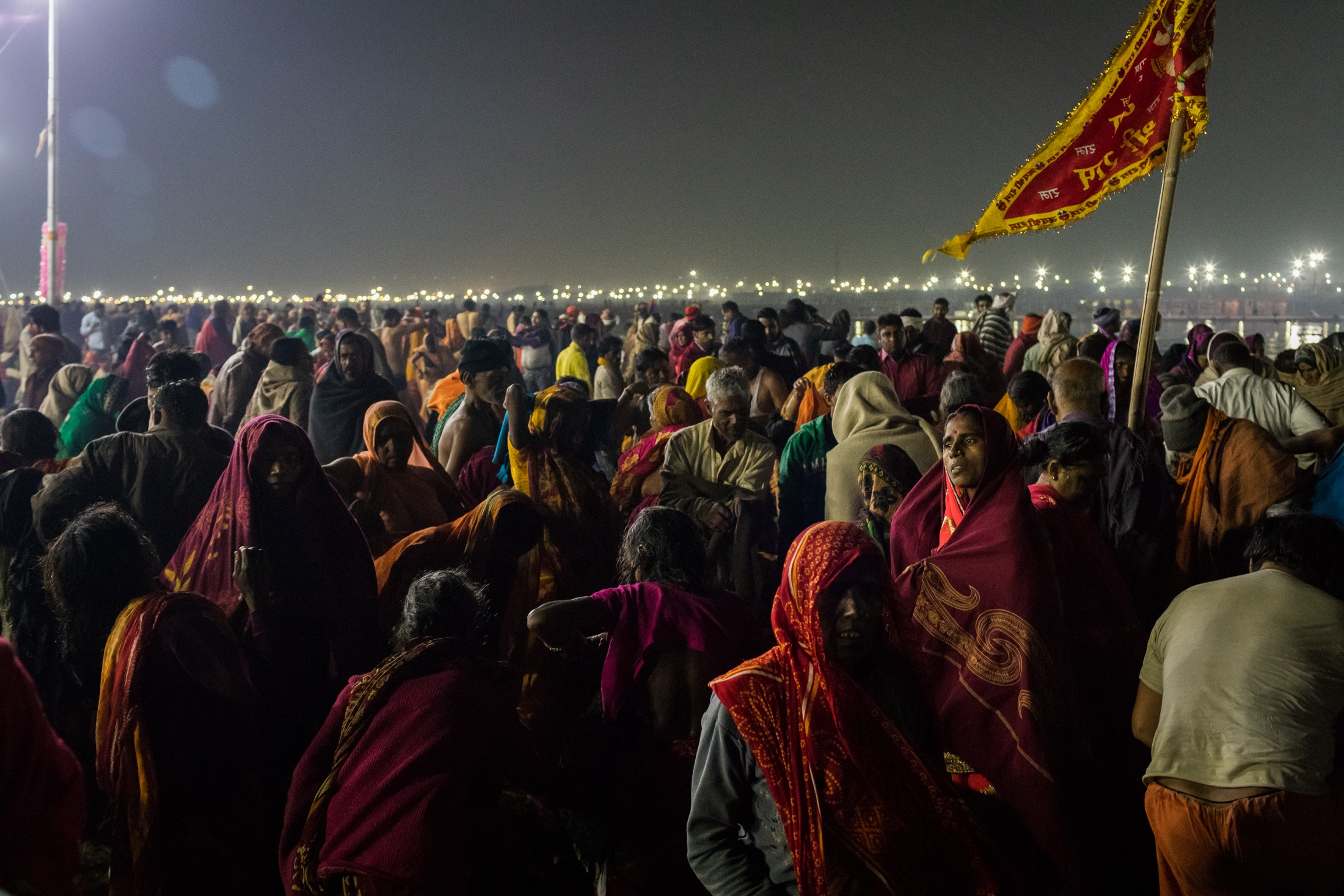 View of the crowd on the shore of the Triveni Sangam, Prayagraj, February 2019.