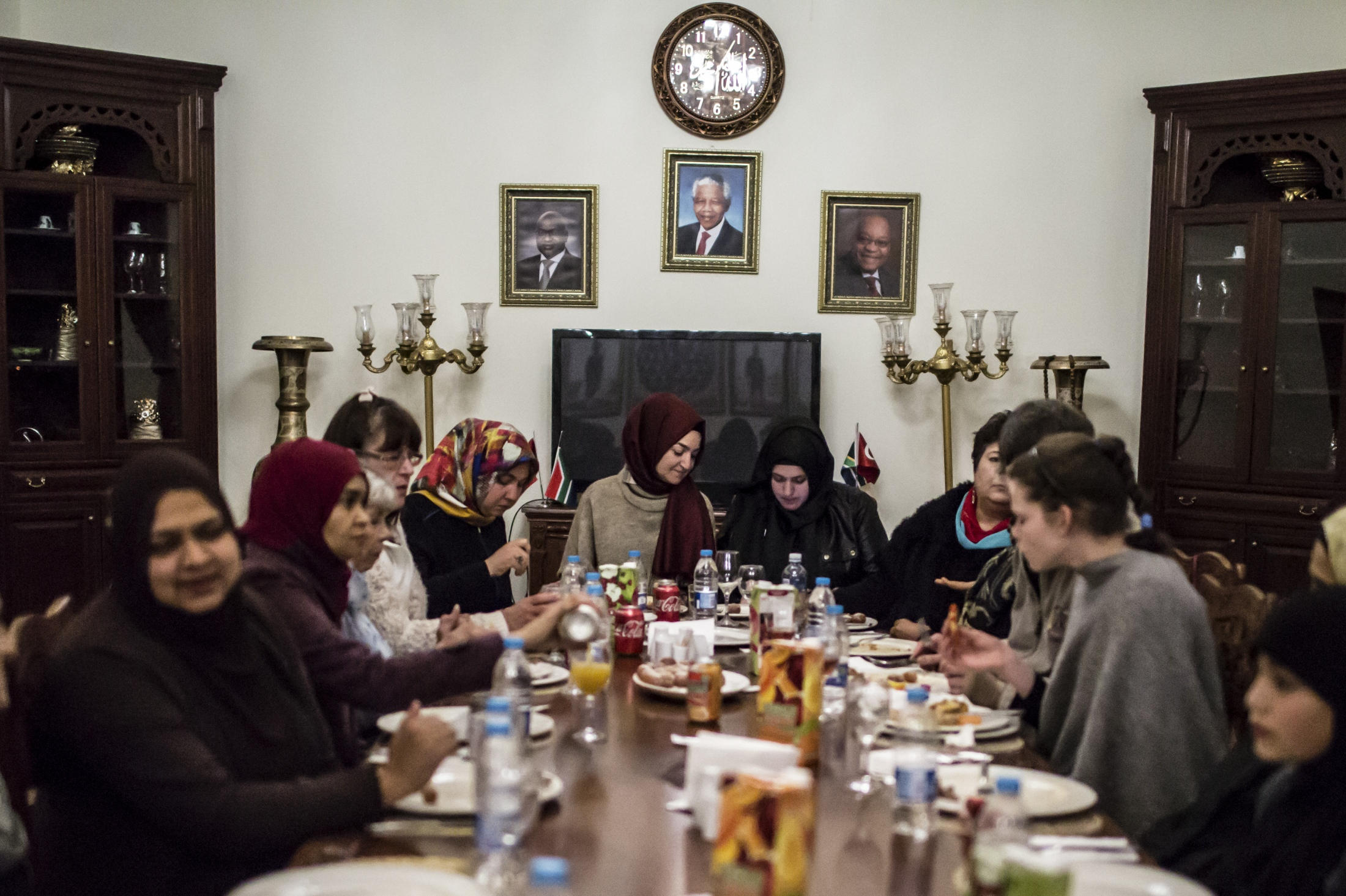A group of women come together to break their fast during the Muslim holy month of fasting, Ramadan, at the Nizamiye Mosque in Johannesburg. The mosque, built by the Turkish community in South Africa, was completed in 2012 and is an adaption of the 16th-century Ottoman Selimiye Mosque which is situated in Erdine, Turkey and it, including the school, museum and shopping complex situated in Midrand is a significant marking of the Turkish community's contribution to the South African landscape.  The community also hosts mass iftars (breaking of the fast) every night, hamper and food distributions among other projects for the entire duration of Ramadan.