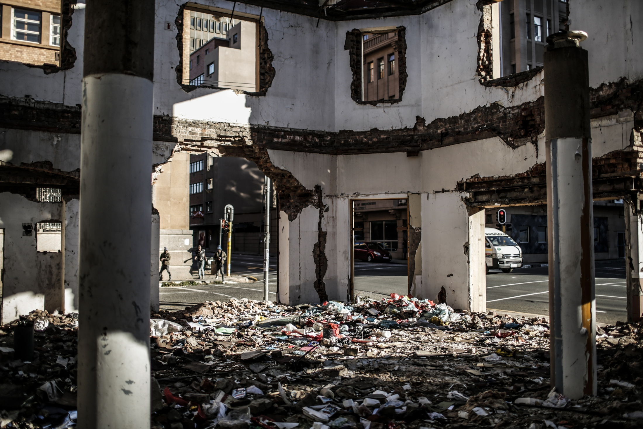 Plastic waste is dumped in an abandoned building in downtown Johannesburg.