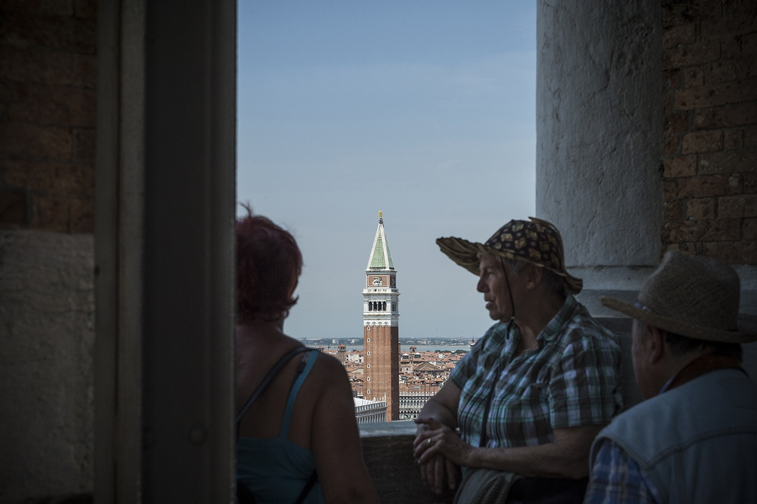 American tourists are watching Venice from above
