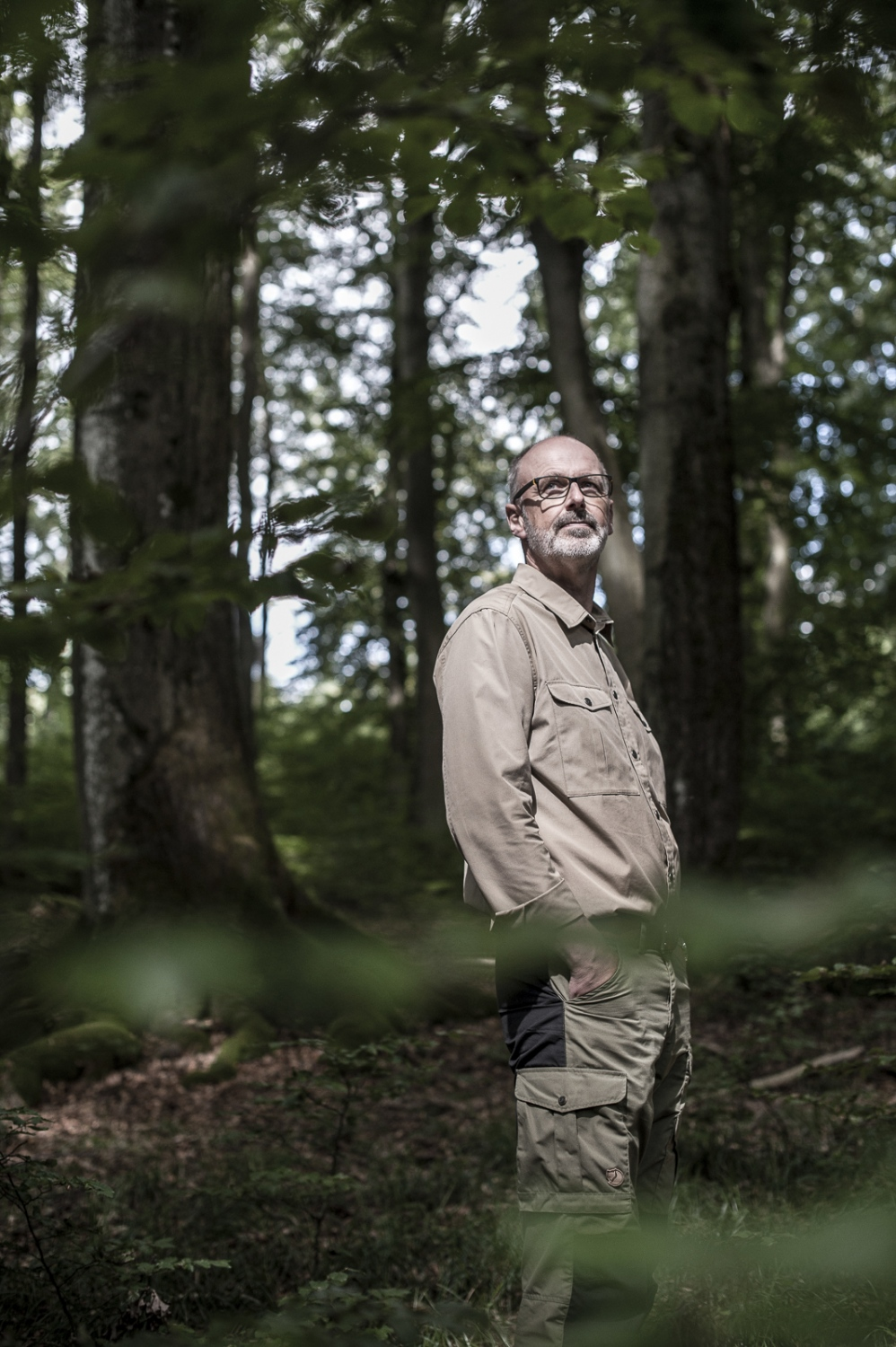 """Peter Wohlleben (born 1964) is a German forester and author who writes on ecological themes in popular language. After graduation from forestry school in Rottenburg am Neckar , he took up a job as a government wood ranger in the Rhineland-Palatinate in 1987. As he grew more familiar with the woodlands he was overseeing, he became disenchanted due to the damage caused by the techniques and technologies he was expected to employ, including the felling of mature trees and the use of insecticides. In his 2015 book about natural forests , Das geheime Leben der Bäume:Was sie fühlen, wie sie kommunizieren - die Entdeckung einer verborgenen Welt , (The Hidden Life of Trees: What they Feel, How they Communicate: Discoveries from a Secret World) he takes the perspective of the trees, much as Jacques Cousteau took the perspective of the inhabitants of the oceans. Among other phenomena, this book introduces for a popular audience the """" Wood-Wide Web """", through which nutrition and signals are exchanged among trees. (wikipedia)"""