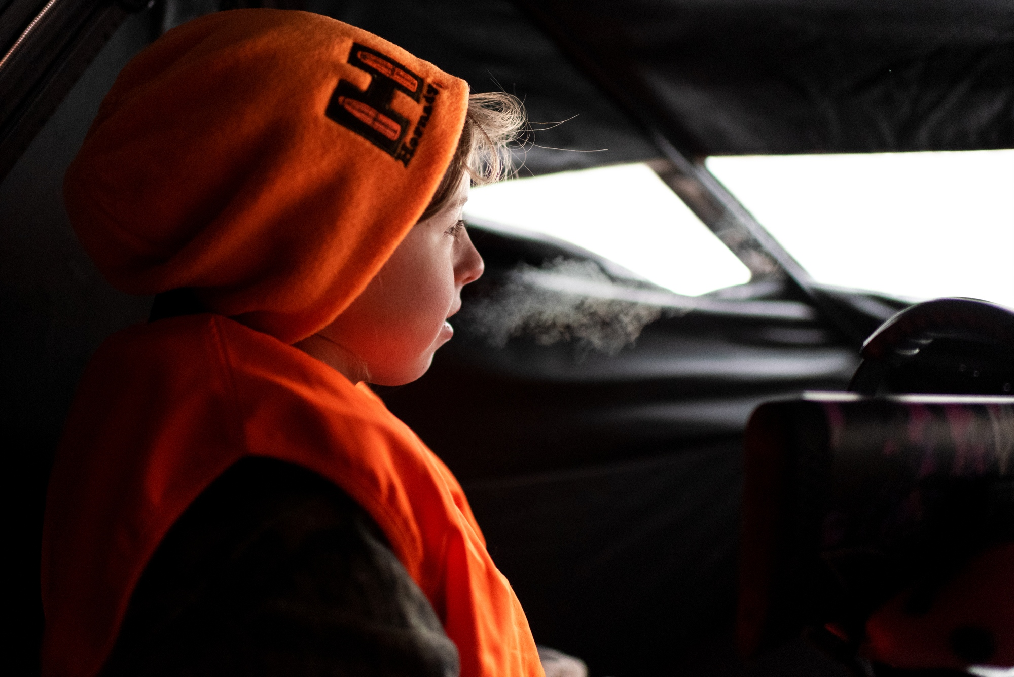 Callie Jennings watches for a deer from inside her family's blind on November 12, 2018. Callie said her dad has passed on the importance of patience, quiet and focus. She has taken some of those lessons with her into her every day life outside of hunting.