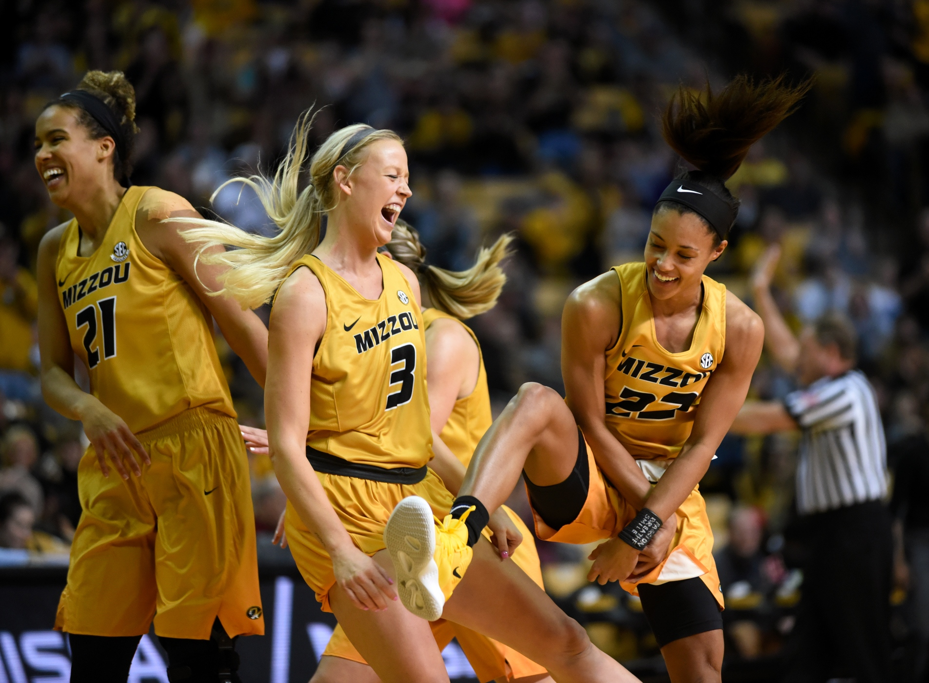 University of Missouri's Cierra Porter, Sophie Cunningham and Jordan Roundtree( celebrate after Mizzou sinks a basket on Sunday, March 03, 2019 in Columbia. Mizzou Women's Basketball faced off against Alabama in their final home game of the season.