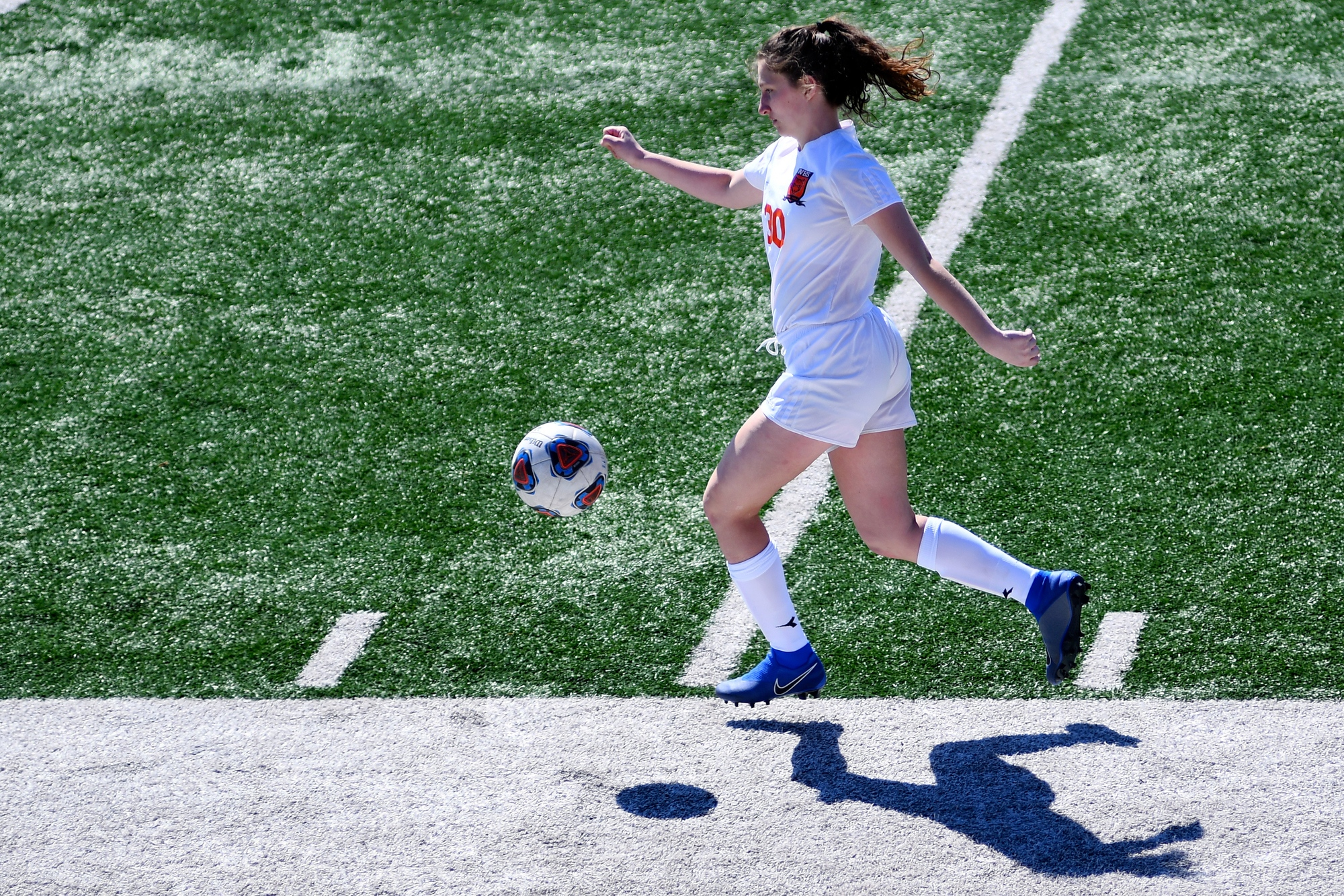 Waynesville midfielder Jessica Dwyer dribbles the ball up the field during the game against Hickman on Saturday, March 16, 2019 at Hickman High School. The Tigers' next game will be at Helias Catholic High School in Jefferson City.