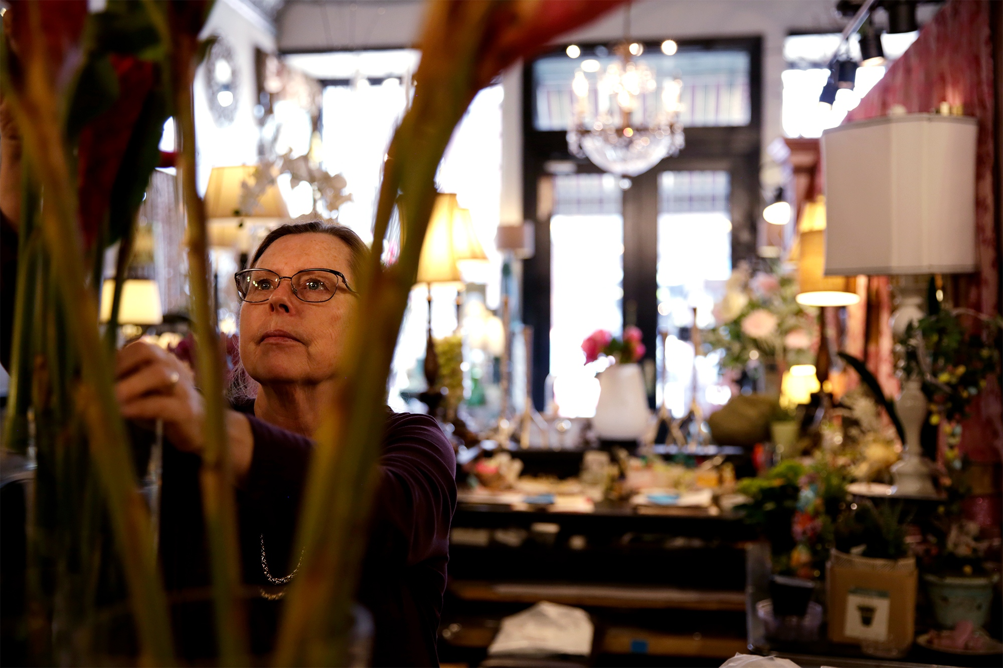 Ruth Lahue spends her day arranging flowers. She has owned My Secret Garden in downtown Columbia for 39 years. She started the business out of her house in 1979.