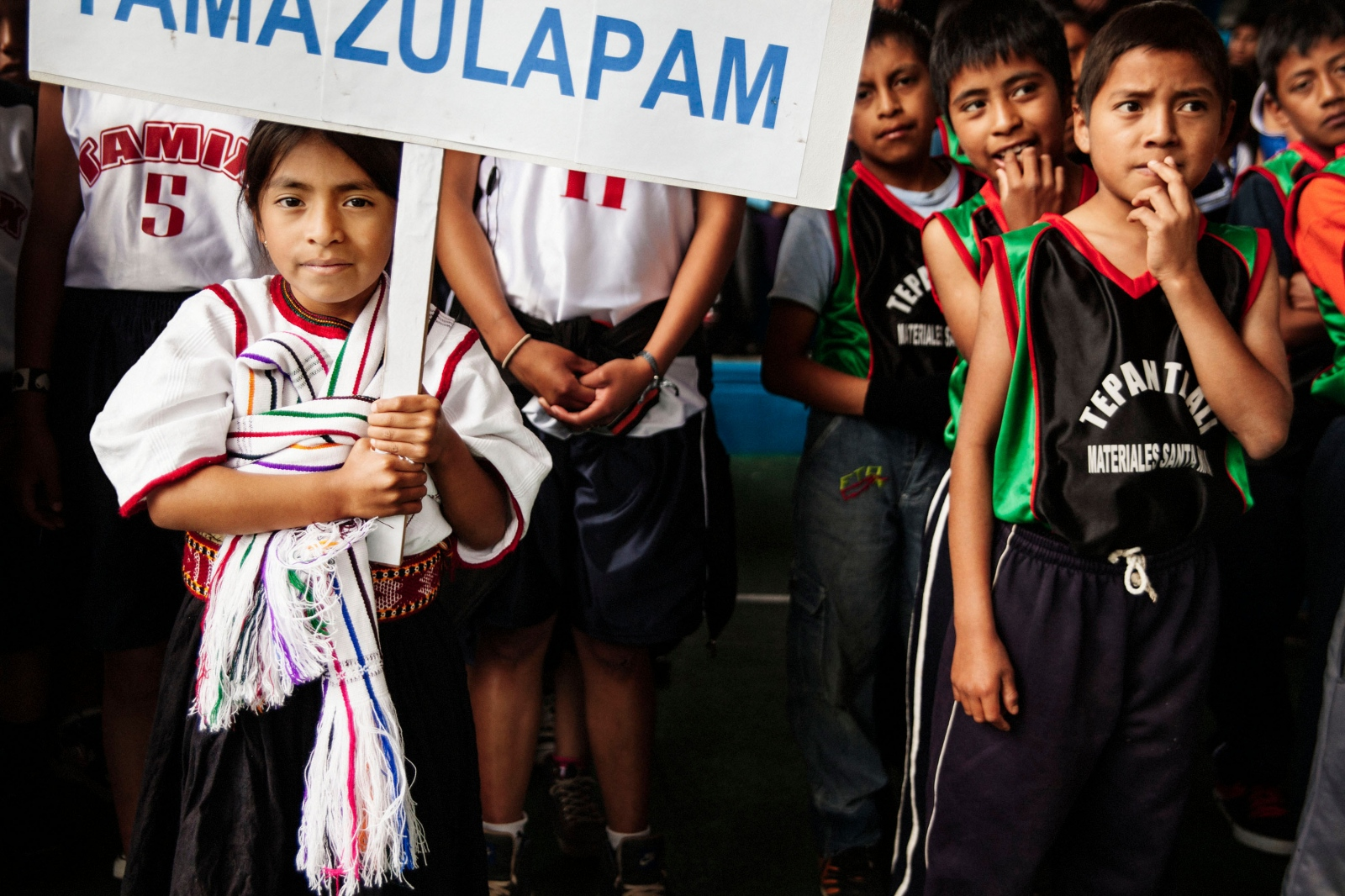 GUELATAO DE JUÁREZ, MARCH 10, 2012. Young players from Tamazulapam and Tepantlali during the opening ceremony of the Copa Benito Juárez.