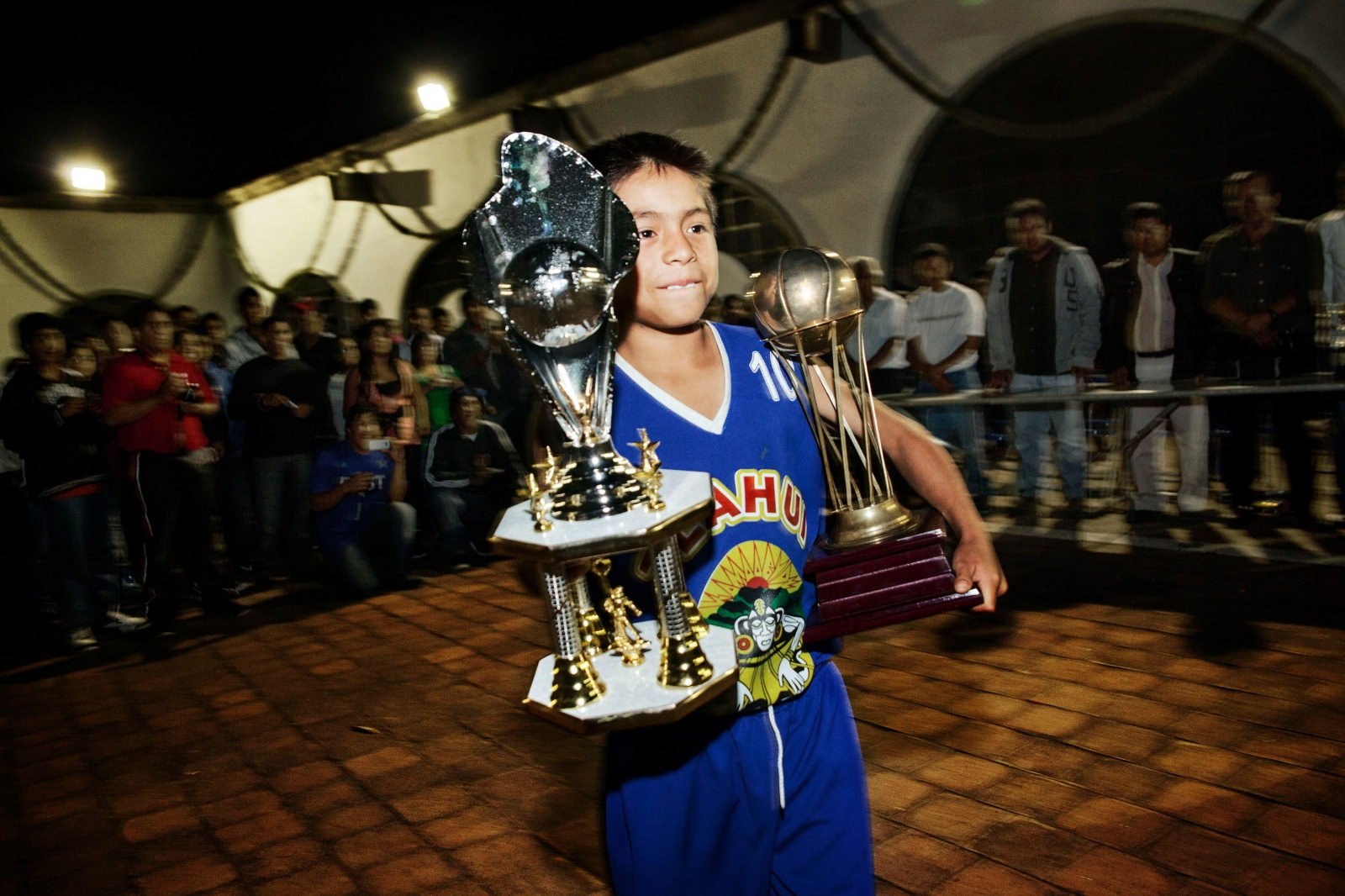 GUELATAO DE JUÁREZ, MARCH 21, 2012. Marco Pacheco, from Santa Maria Tlahuitoltepec, wins the most valuable player award (Vicente Montes trophy) during the Copa Benito Juarez 2012.