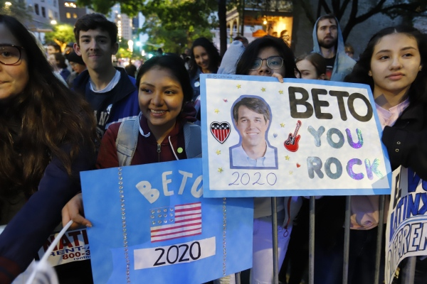 "A supporter of Democratic presidential candidate and former Texas congressman Beto O'Rourke at his presidential campaign kickoff rally in Austin,Texas, in front of the Texas State Capitol, Saturday, March 30,2019.  As thousands of supporters shouted ""Beto!"""