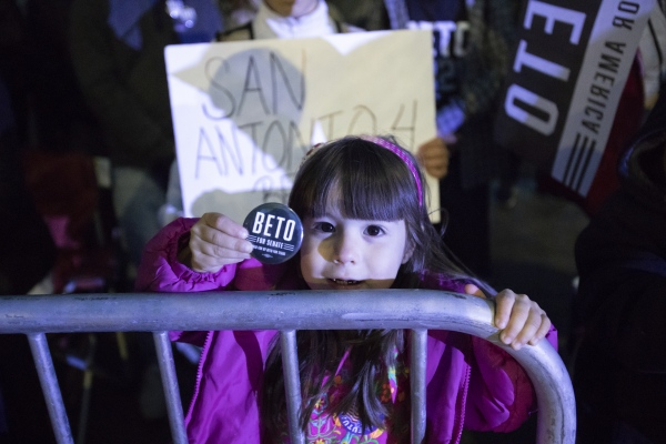 "A young supporter of Democratic presidential candidate and former Texas congressman Beto O'Rourke at his presidential campaign kickoff rally in Austin,Texas, in front of the Texas State Capitol, Saturday, March 30,2019.  As thousands of supporters shouted ""Beto!"""