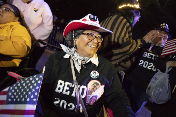"""Marie Ruiz, age 69, a supporter of Democratic presidential candidate and former Texas congressman Beto O'Rourke at his presidential campaign kickoff rally in Austin,Texas, in front of the Texas State Capitol, Saturday, March 30,2019. As thousands of supporters shouted """"Beto!"""""""