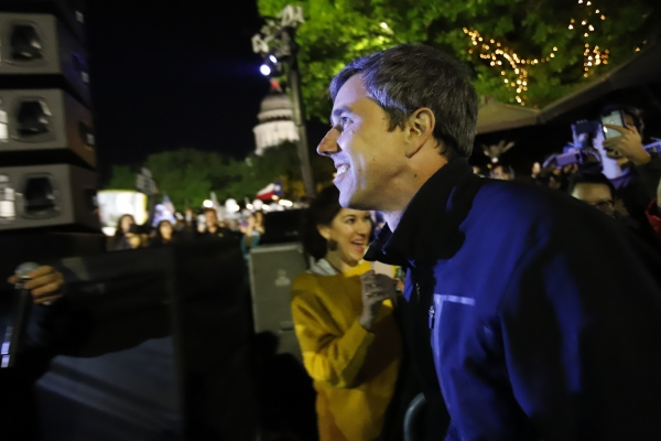 """Democratic presidential candidate and former Texas congressman Beto O'Rourke during his presidential campaign kickoff rally in Austin,Texas, in front of the Texas State Capitol, Saturday, March 30,2019 Thousands of supporters shouted """"Beto!"""""""