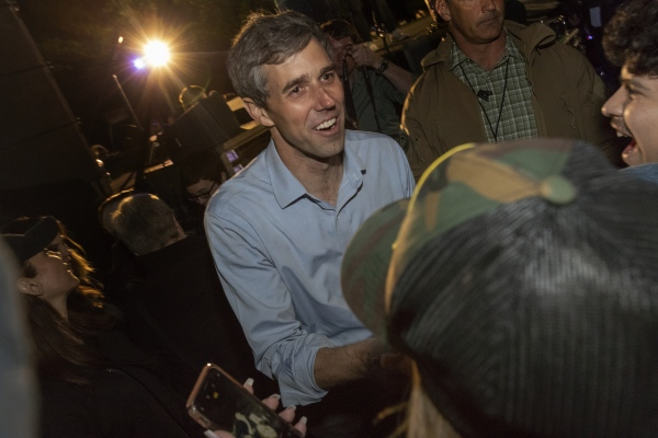"""Democratic presidential candidate and former Texas congressman Beto O'Rourke greets supporters after his presidential campaign kickoff rally in Austin,Texas, in front of the Texas State Capitol, Saturday, March 30,2019 Thousands of supporters shouted """"Beto!"""""""