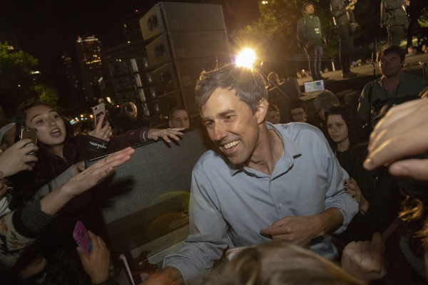 "Democratic presidential candidate and former Texas congressman Beto O'Rourke greets supporters after his presidential campaign kickoff rally in Austin,Texas, in front of the Texas State Capitol, Saturday, March 30,2019  Thousands of supporters shouted ""Beto!"""