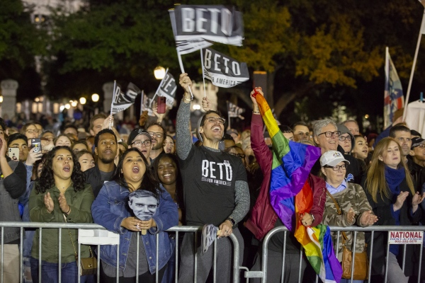 """A supporter of Democratic presidential candidate and former Texas congressman Beto O'Rourke at his presidential campaign kickoff rally in Austin,Texas, in front of the Texas State Capitol, Saturday, March 30,2019. As thousands of supporters shouted """"Beto!"""""""