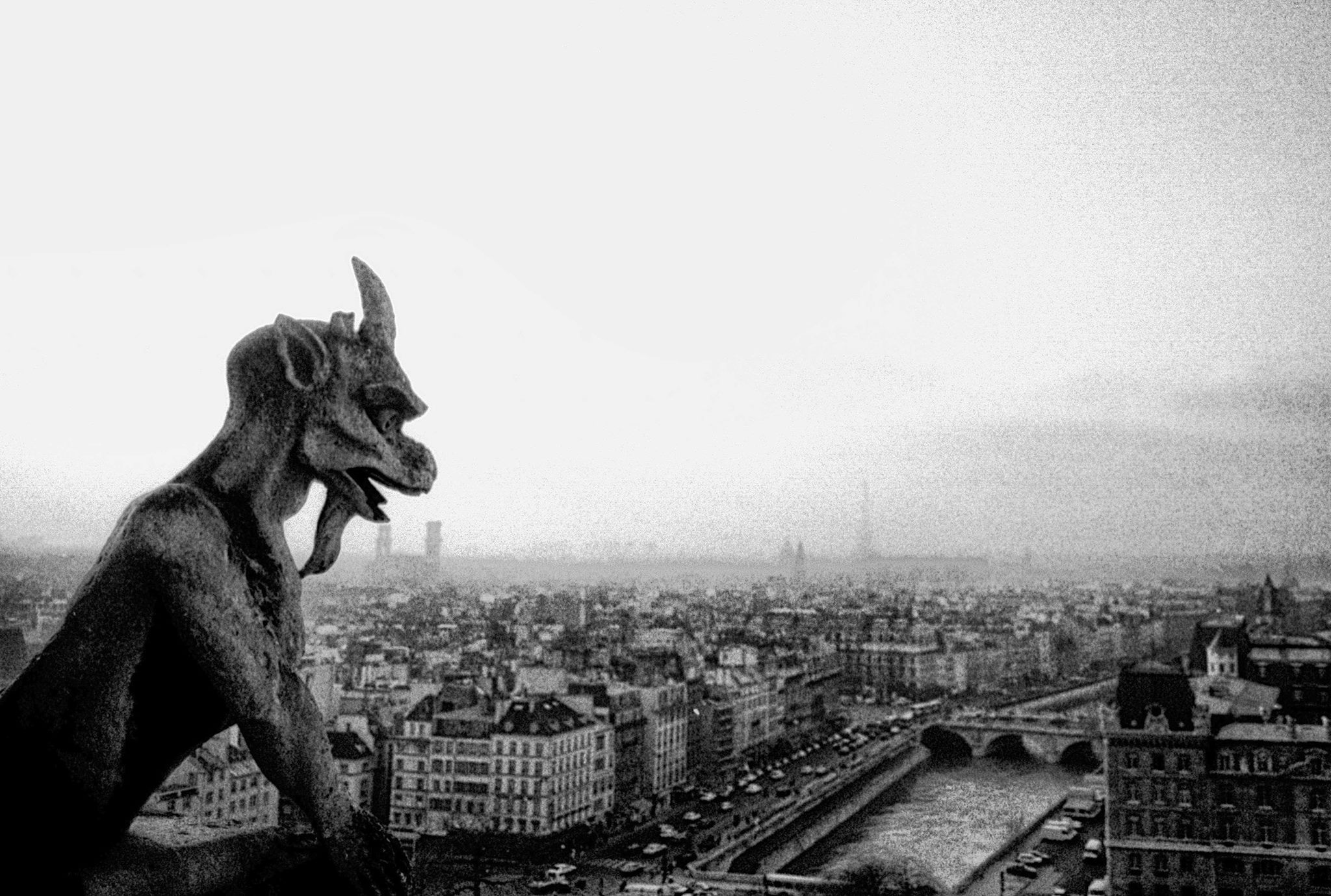 Photography image -  I see Notre Dame is on fire and roof has allegedly collapsed. I visited it back in the 80s and took this picture--which is a cliche but it is one I like most. Paris, France - Circa 1985. Zorki IV, Tri-x 400.