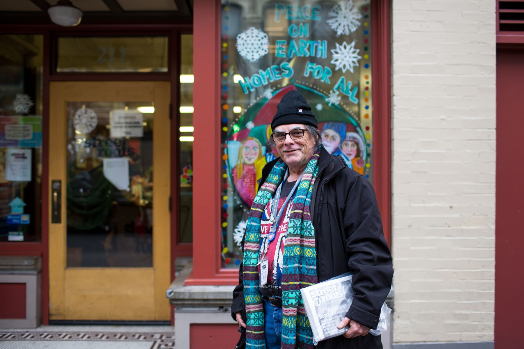 Mark Rodriguez at the office of the homeless advocacy newspaper Street Roots, which he sells in Portland. 'Homeless at Christmas'  for the Guardian