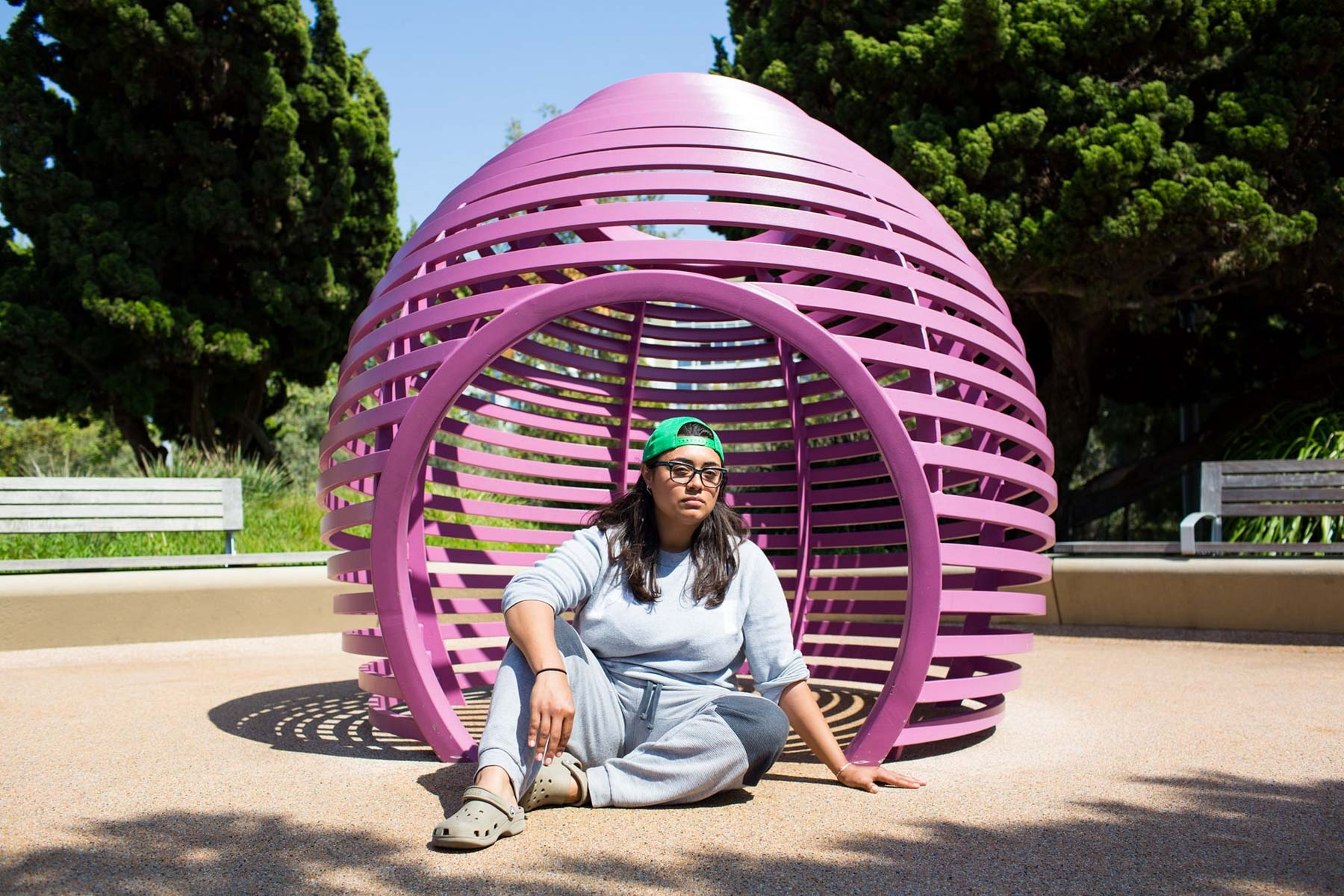 Michelle Ducoing, 24, inside the playground structure where she slept on her first night of homelessness in Santa Monica, California. 'Homeless women on their first night on the streets'  for the Guardian