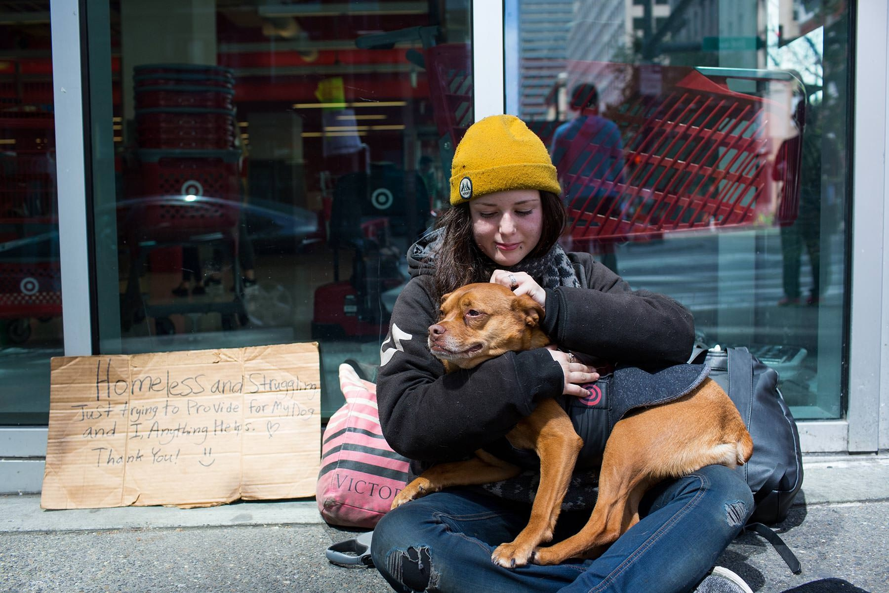 Heather with her dog Poppy in downtown Seattle. 'Homeless people on their pets'  for the Guardian
