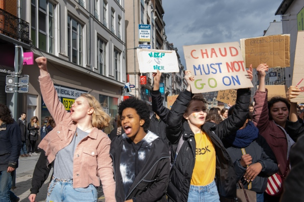 Students join the Climate March protesting for environmental action. Lille, France - March 16, 2019.