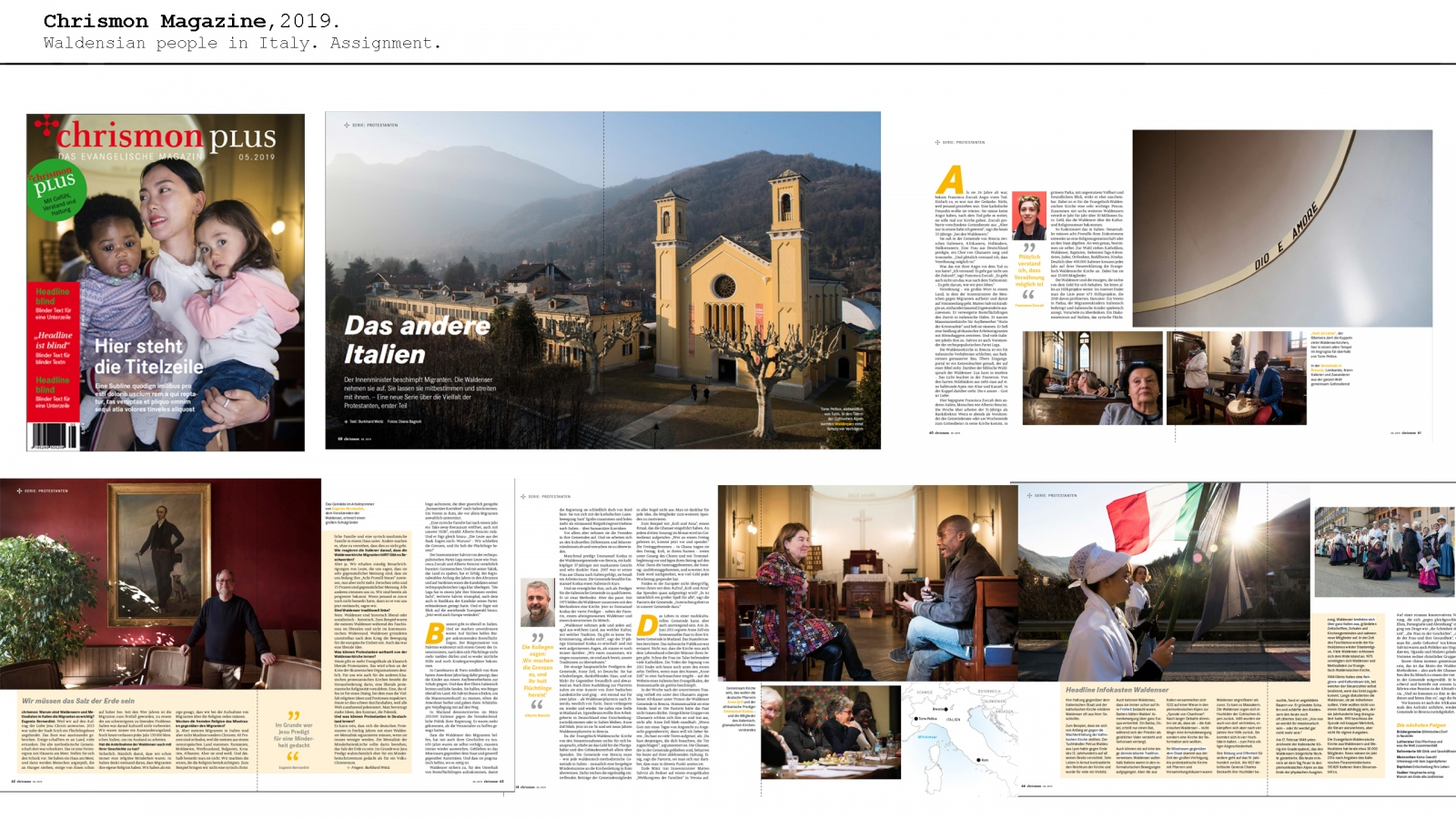 Waldensian story in north of Italy for Chrismon. February 2019