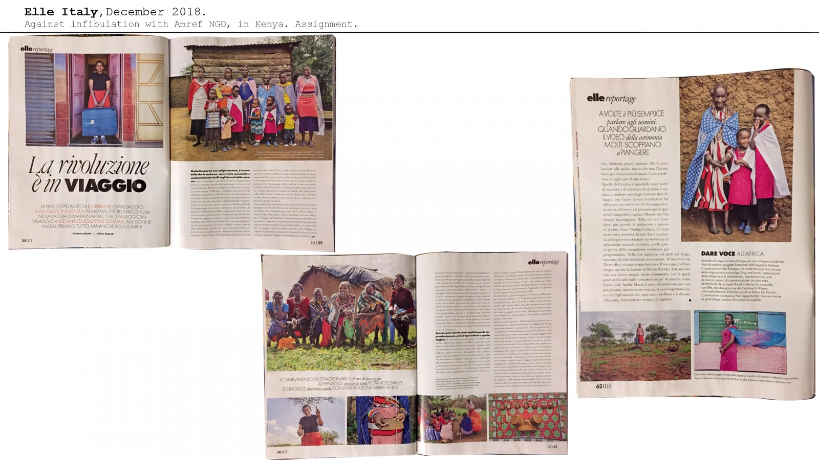 Elle Magazine. January 2019. The story of Maria and the blue suitcase, sexual education in Masai villages with the NGO Amref